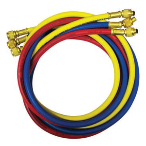 "Automotive Hose Set 1/4"" x 60"" w\14mm. Yellow hose has 5/16"" & 1/4"" Female connections with ball valve."